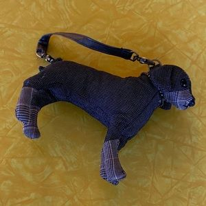 Fuzzy Nation plaid little dog purse